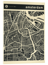 Acrylic print  AMSTERDAM CITY MAP - Jazzberry Blue