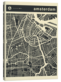 Canvas print  AMSTERDAM CITY MAP - Jazzberry Blue