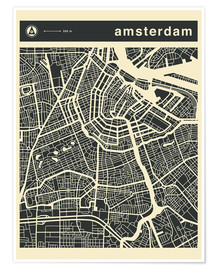 Premium poster  AMSTERDAM CITY MAP - Jazzberry Blue