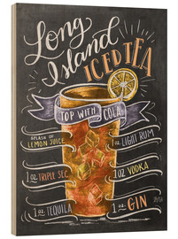Wood print  Long Island Ice Tea recipe - Lily & Val