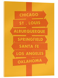 Acrylic print  City signs locations route 66 art print - Nory Glory Prints