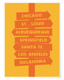 Premium poster  City signs locations route 66 art print - Nory Glory Prints