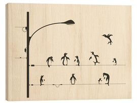 Wood print  PENGUINS ON A WIRE - Jazzberry Blue