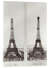 Acrylic print  Two views of the construction of the Eiffel Tower