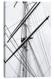 Canvas print  Detail view of a sailboat mast