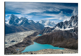 Aluminium print  Mountains with lake in the Himalayas, Nepal