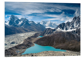 Foam board print  Mountains with lake in the Himalayas, Nepal