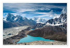 Premium poster  Mountains with lake in the Himalayas, Nepal