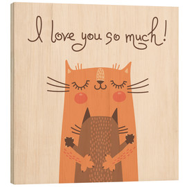 Wood print  Cats love - Kidz Collection