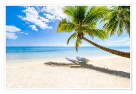 Premium poster Palm beach and sea in summer vacation