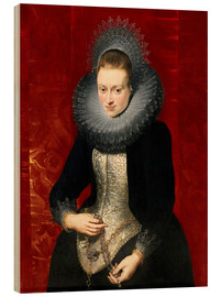 Wood print  woman with a rosary - Peter Paul Rubens