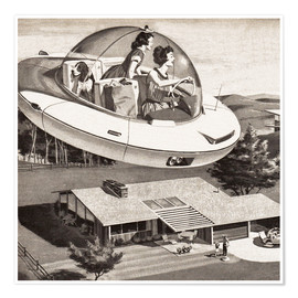 Premium poster  Woman Driving Flying Saucer
