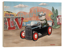 Wood print  Las Vegas Hot Rod Frenchie - Macsorro