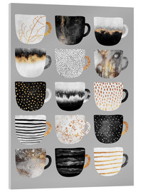 Acrylic print  Pretty coffee cups 3 in grey - Elisabeth Fredriksson
