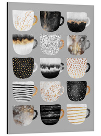Aluminium print  Pretty coffee cups 3 in grey - Elisabeth Fredriksson