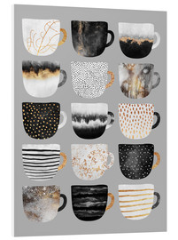 Foam board print  Pretty coffee cups 3 in grey - Elisabeth Fredriksson