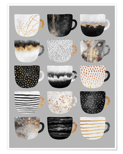 Premium poster Pretty coffee cups 3 in grey