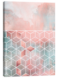 Canvas  Rose Clouds And Cubes - Elisabeth Fredriksson