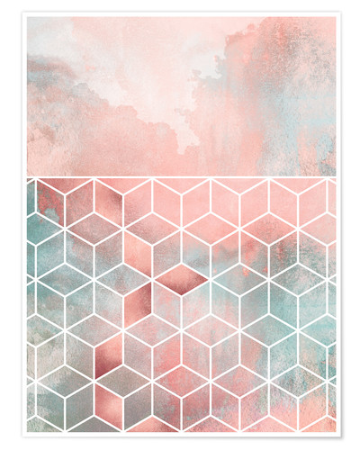 Poster Rose Clouds And Cubes
