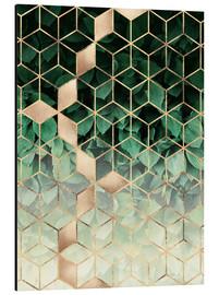 Aluminium print  Leaves and cubes - Elisabeth Fredriksson
