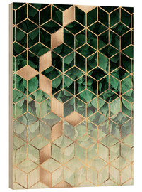 Wood print  Leaves and cubes - Elisabeth Fredriksson
