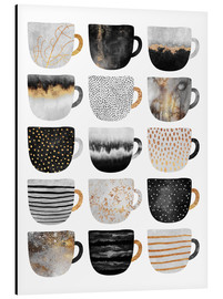Aluminium print  Pretty coffee cups 3 in white - Elisabeth Fredriksson