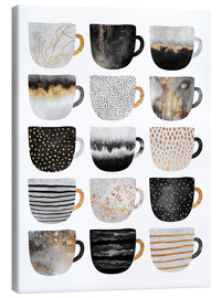 Canvas print  Pretty coffee cups 3 in white - Elisabeth Fredriksson