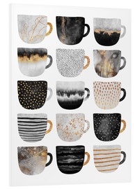 Foam board print  Pretty coffee cups 3 in white - Elisabeth Fredriksson