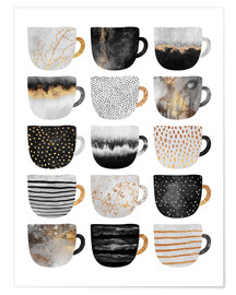 Premium poster  Pretty coffee cups 3 in white - Elisabeth Fredriksson
