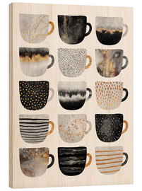 Wood  Pretty Coffee Cups 3   White - Elisabeth Fredriksson