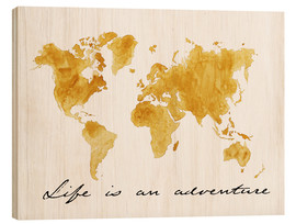 Wood print  World map - Nadine Conrad