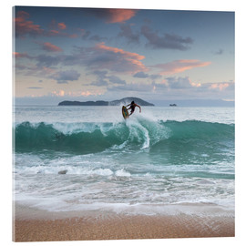 Acrylic print  Surfing at sunset in paradise - Alex Saberi