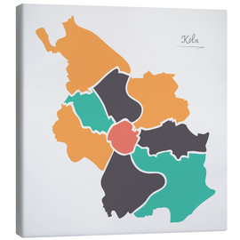 Canvas print  Cologne city map modern abstract with round shapes - Ingo Menhard