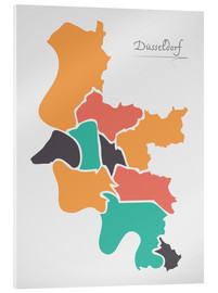 Acrylic print  Dusseldorf city map modern abstract with round shapes - Ingo Menhard