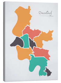 Canvas print  Dusseldorf city map modern abstract with round shapes - Ingo Menhard
