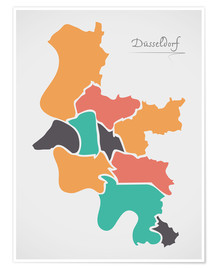 Premium poster Dusseldorf city map modern abstract with round shapes