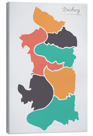 Canvas  Duisburg city map modern abstract with round shapes - Ingo Menhard