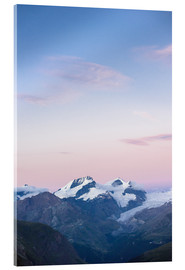 Acrylic print  Panorama with Rimpfischorn and Strahlhorn after sunset  View from Schönbiel SAC mountain hut, Zermat - Peter Wey