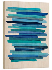 Wood print  Blue Stripes 1 - Mareike Böhmer
