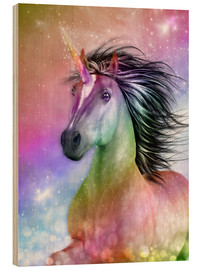 Wood print  Unicorn - Be Authentic - Dolphins DreamDesign