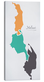 Canvas print  Malawi map modern abstract with round shapes - Ingo Menhard