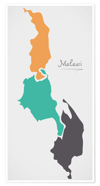 Premium poster Malawi map modern abstract with round shapes