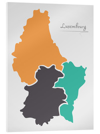 Acrylic print  Luxembourg map modern abstract with round shapes - Ingo Menhard