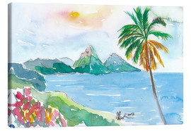 Canvas print  St Lucia Caribbean Dreams With Sunset and Pitons Peaks - M. Bleichner