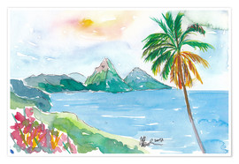 Premium poster St Lucia Caribbean Dreams With Sunset and Pitons Peaks