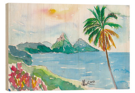 Wood print  St Lucia Caribbean Dreams With Sunset and Pitons Peaks - M. Bleichner