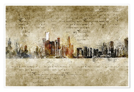 Premium poster  Chicago skyline in modern abstract vintage look - Michael artefacti