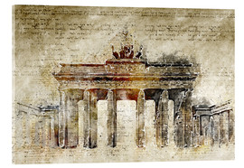 Acrylic glass  Berlin Brandenburg Gate in modern abstract vintage look - Michael artefacti