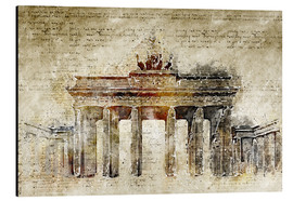 Aluminium print  Berlin Brandenburg Gate in modern abstract vintage look - Michael artefacti