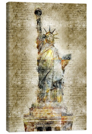 Canvas  Statue of liberty New York in modern abstract vintage look - Michael artefacti